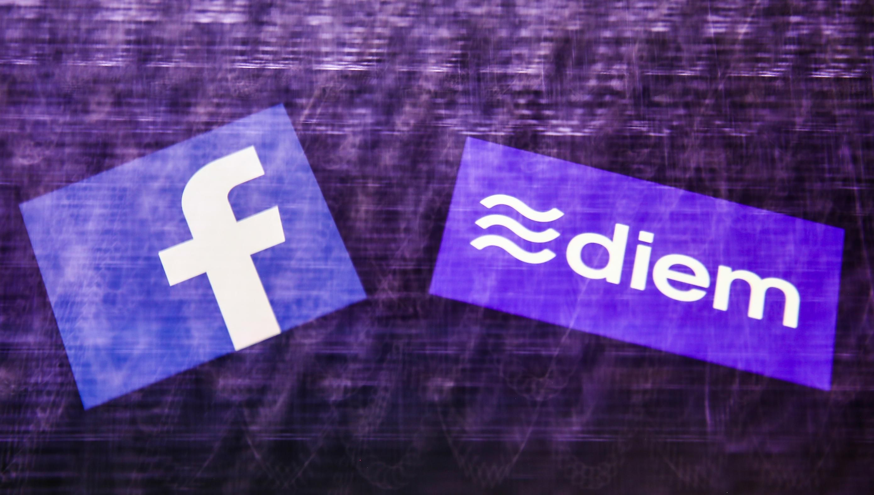 The background is purple and wavy. On the left is Facebooks icon logo. On the right is the icon for Diem.
