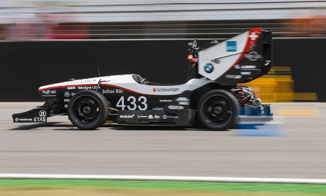 """The driverless """"pilatus""""electric race car on the race track of Formula Student Germany."""