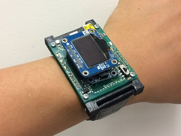 The electronic mosquito prototype on a volunteer's wrist