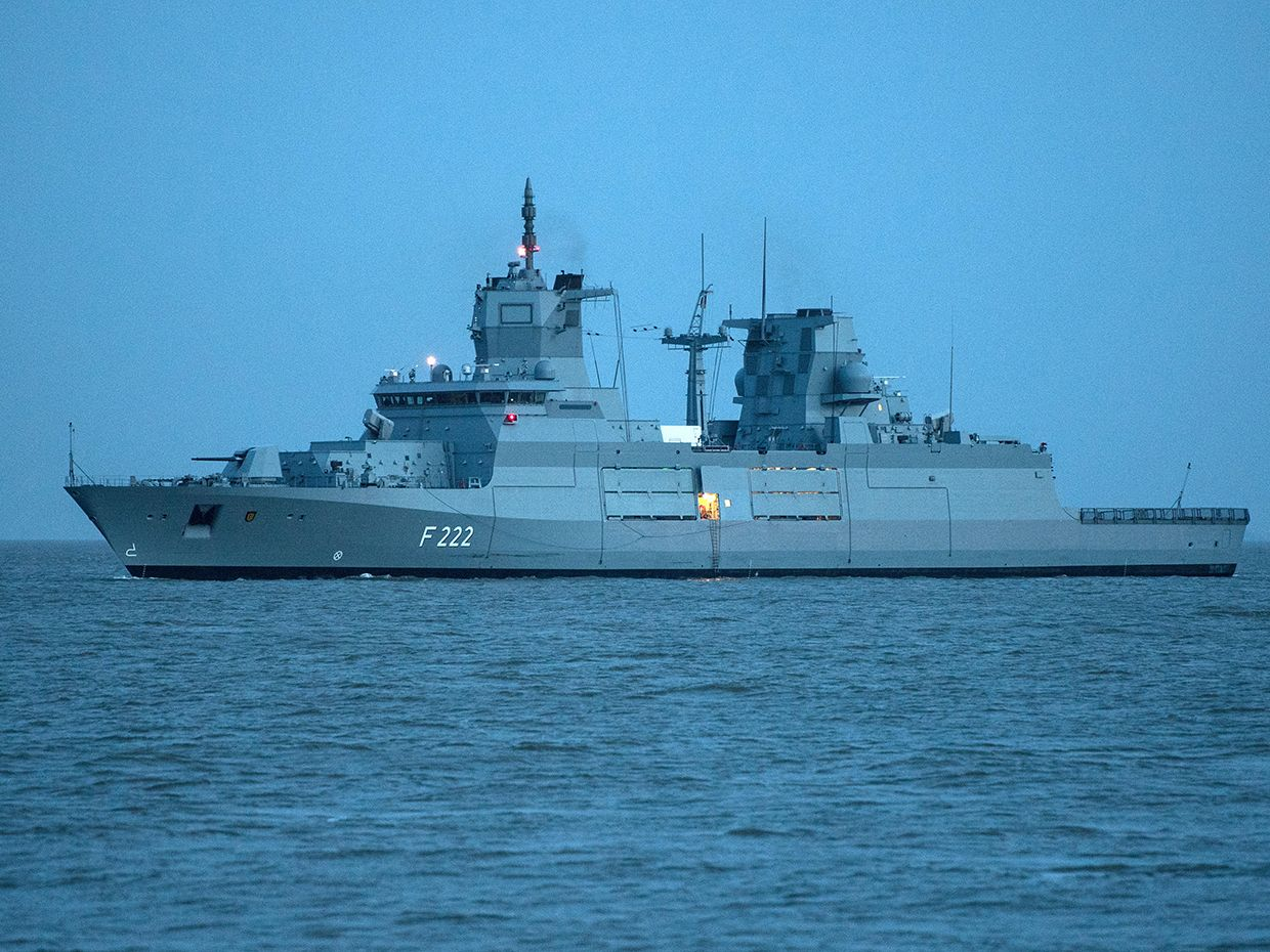 TheF125 frigate 'Baden-Wuerttemberg' sails in Cuxhaven, Germany