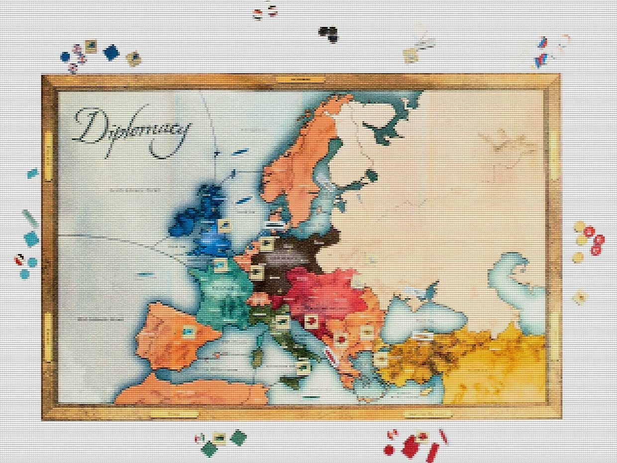 The game Diplomacy, with a pixellation treatment