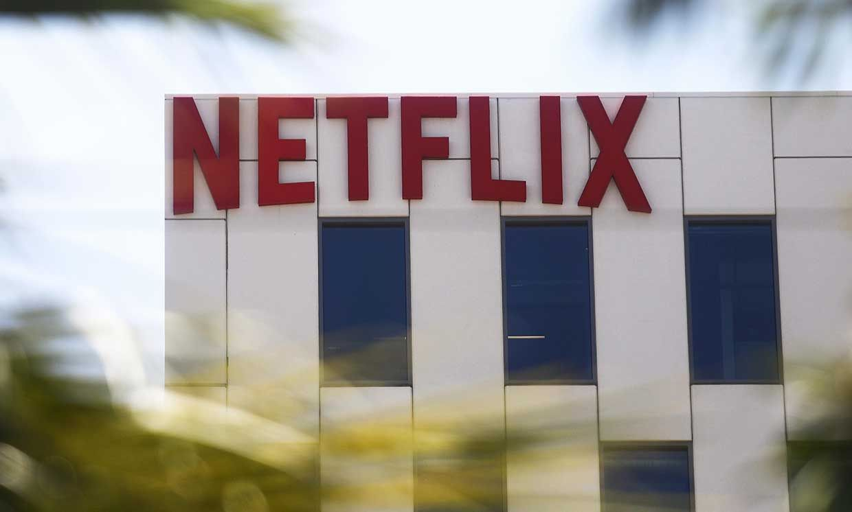 The Netflix logo is displayed at Netflix offices on Sunset Boulevard on May 29, 2019 in Los Angeles, California.