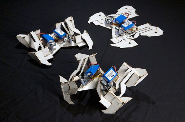 Self-Folding Origami Robot Goes From Flat to Walking in Four Minutes
