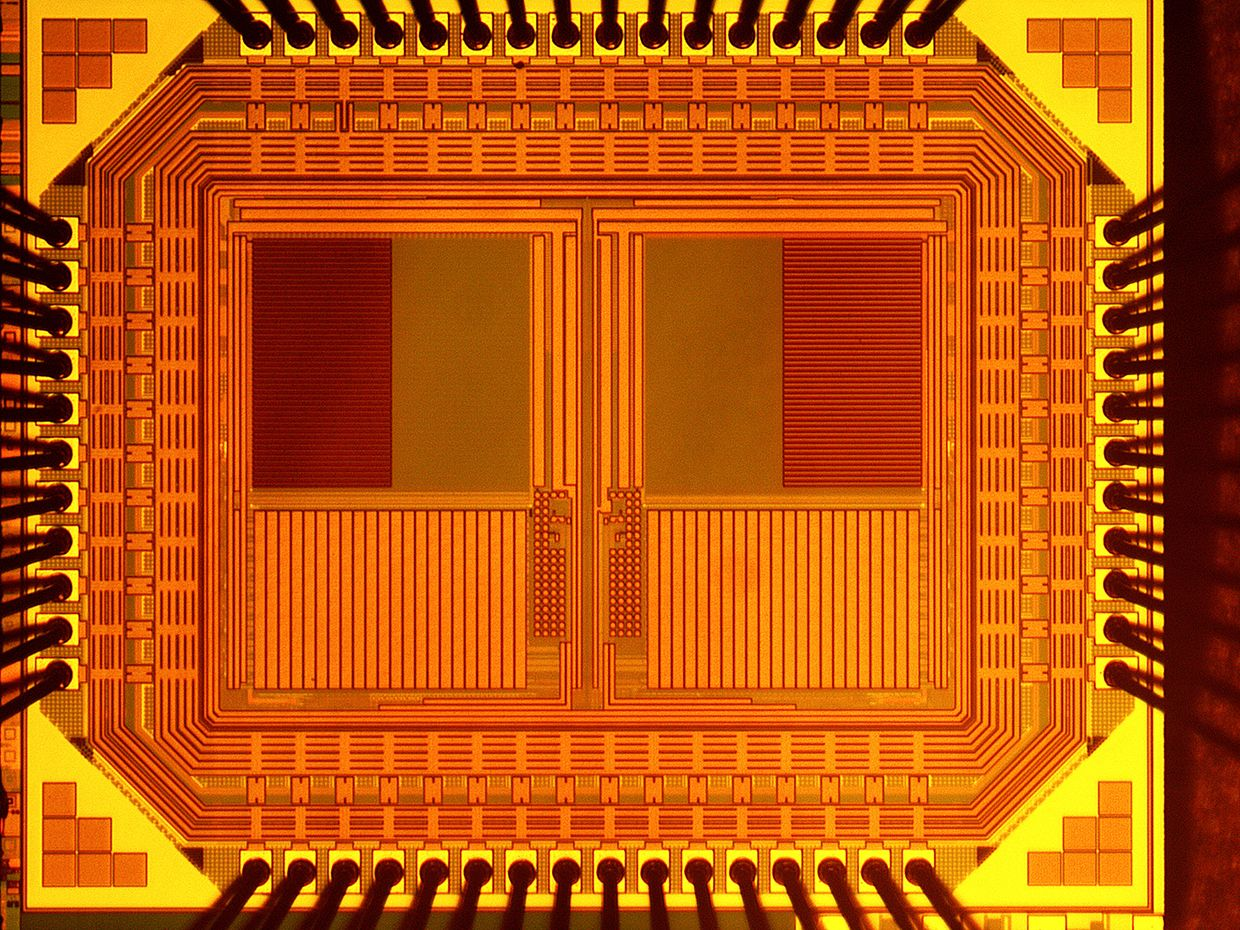 The University of Michigan's self-powered camera chip laid bare vaguely resembles two square owl's eyes.