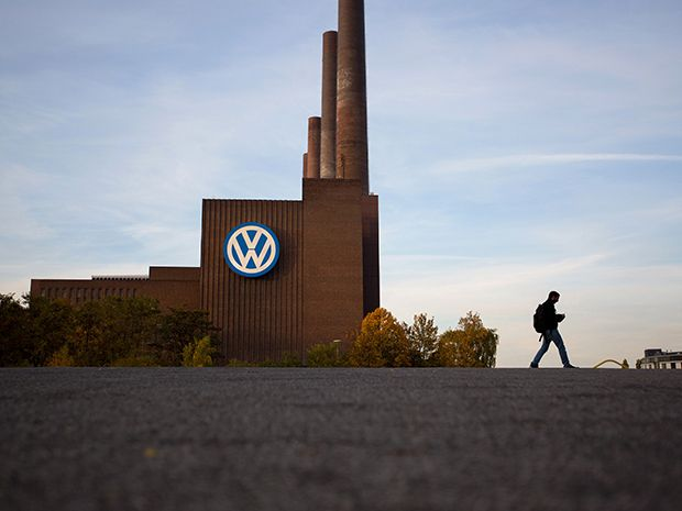 The Volkswagen logo sits on the automaker's headquarters in Wolfsburg, Germany