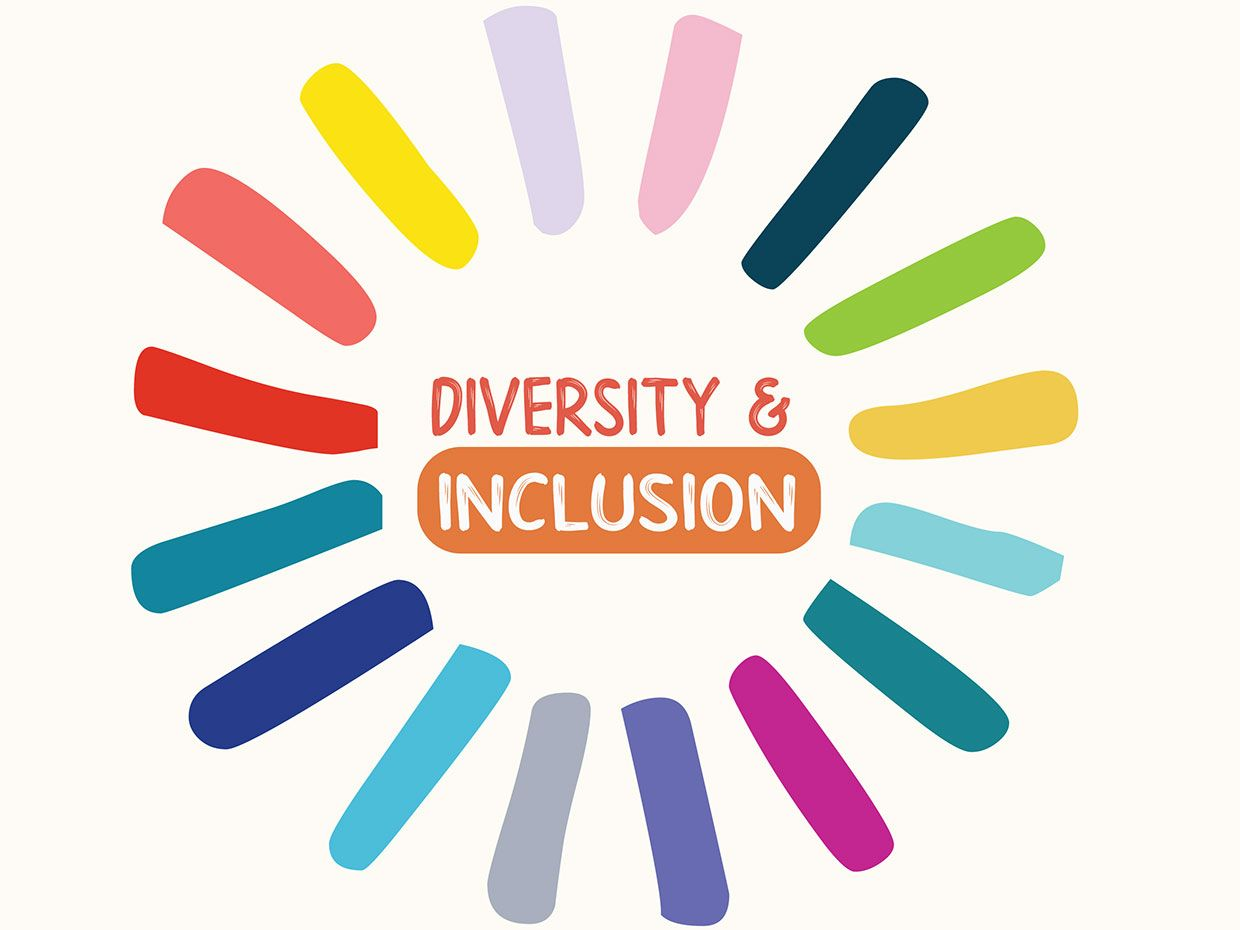 The words diversity & inclusion surrounded by lines of color.