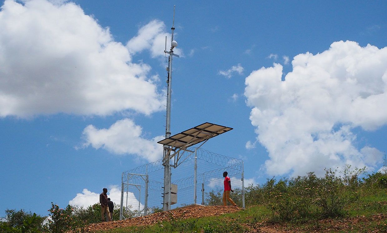 This cell tower in Rwanda uses solar panels to stay off the grid and require little to no maintenance.
