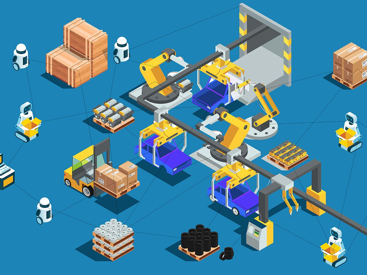 This illustration shows robots in a warehouse placing boxes on conveyor belts and operating various pieces of equipment.