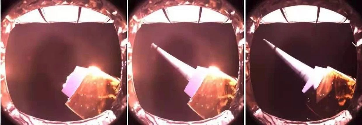 This series of three photographs was taken during the unfolding of an antenna on the QueQiao satellite, which is located behind the moon at around 450 thousand kilometres from Earth.