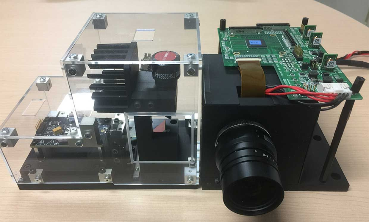 Toshiba's prototype Lidar. Left, a Galvano scanner used for proof of concept. Right, a commercial telephoto lens and SiPM circuit board.
