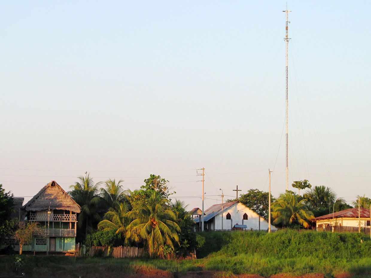 Tower installed in the village of Varadero deep into the Peruvian Amazon in 2012.