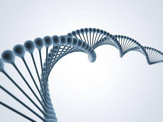 Twisting double-helix molecule of DNA