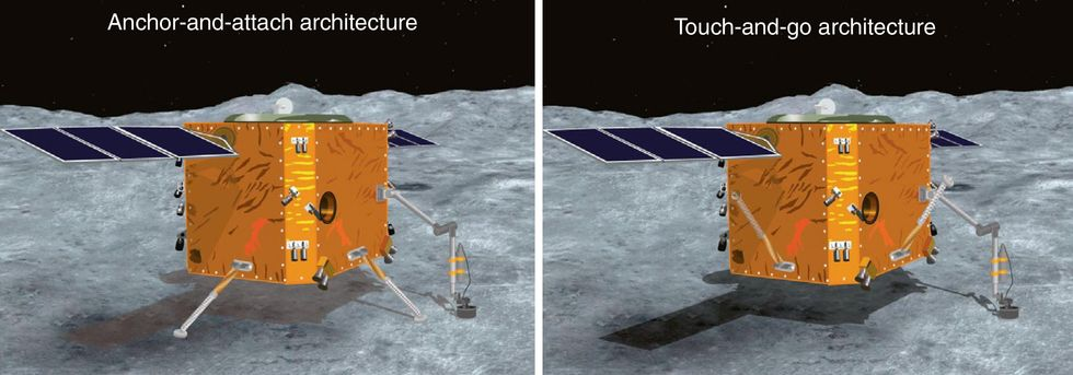 Two illustrations of space landers on an asteroid. The left is labelled Anchor-and-attach architecture. The right is labelled Touch-and-go architecture.