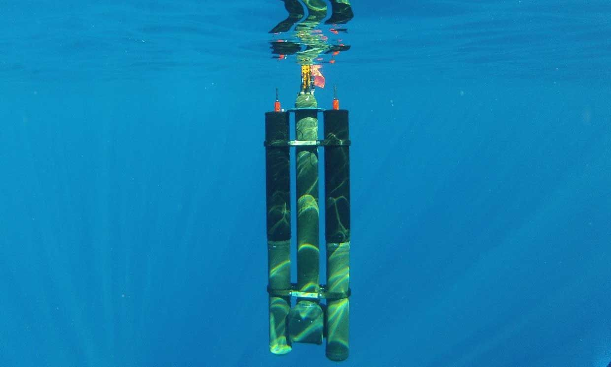 Two Seatrec energy harvesting modules attached to a profiling float going as deep as 1000m.