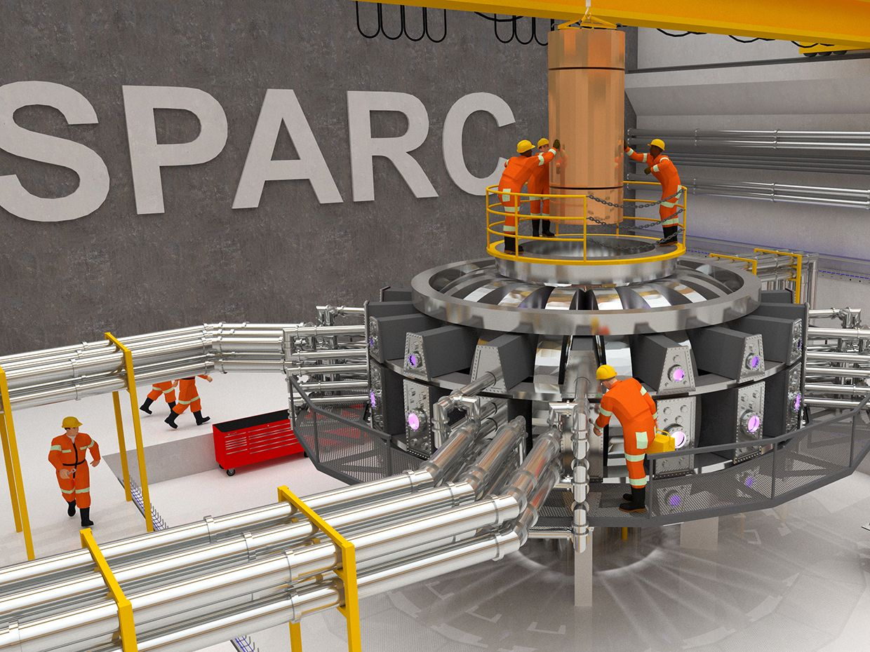Visualization of the proposed SPARC tokamak experiment. Using high-field magnets built with newly available high-temperature superconductor, this experiment would be the first controlled fusion plasma to produce net energy output