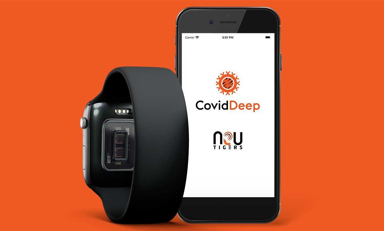 Wearable and NeuTigers' CovidDeep App on a phone