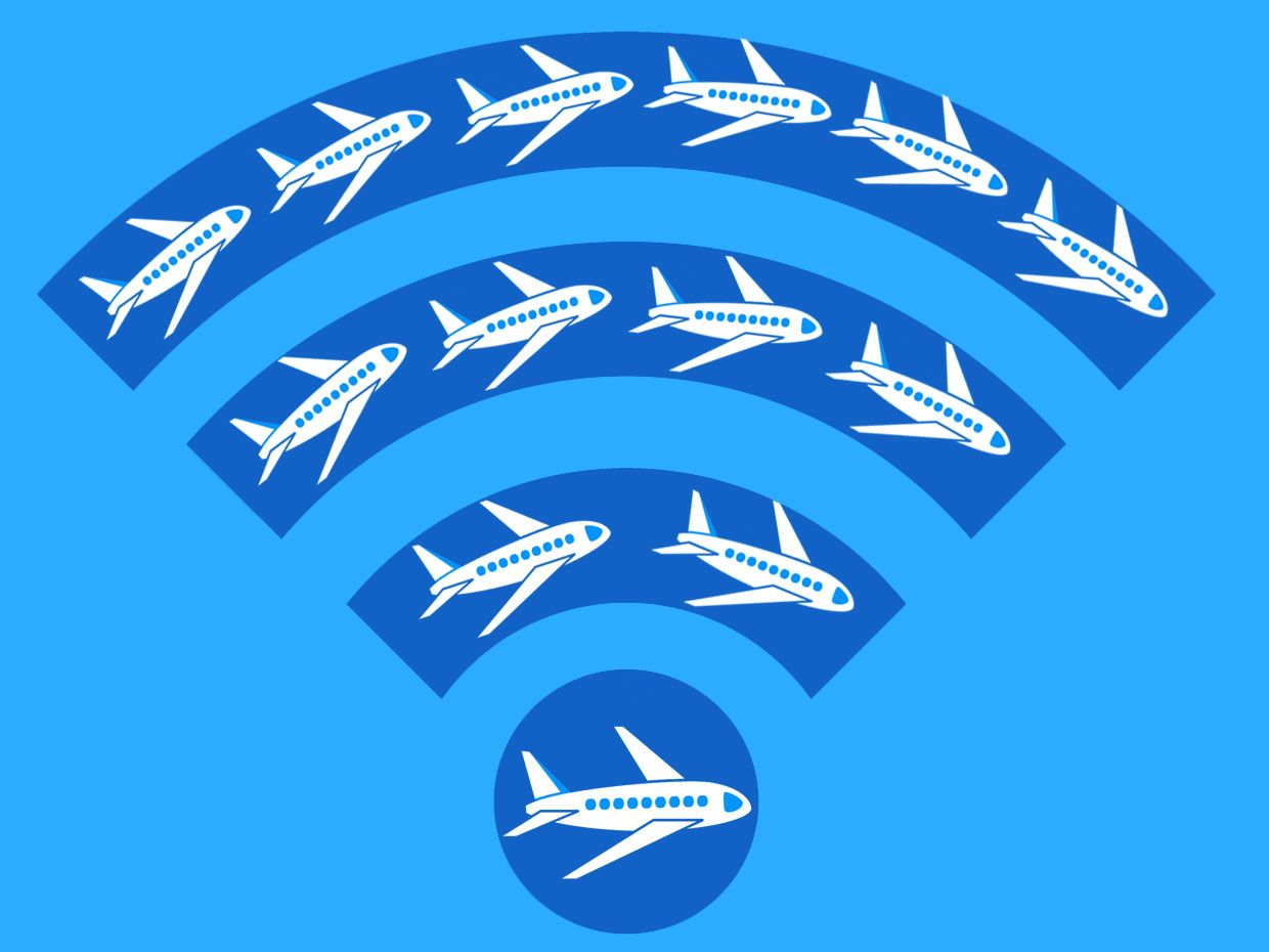 Wifi symbol with multiple airplanes flying inside