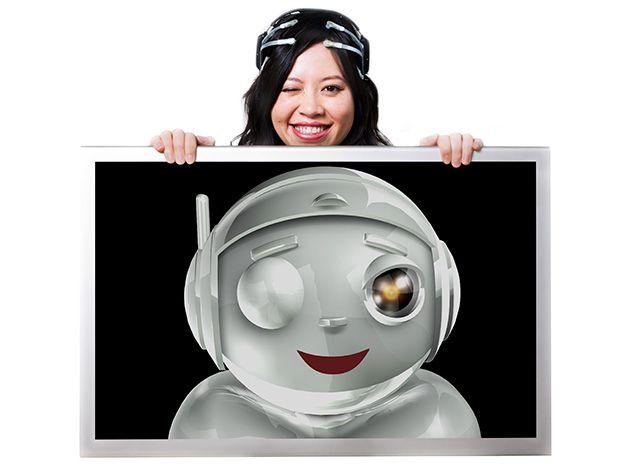 woman with Emotiv robot