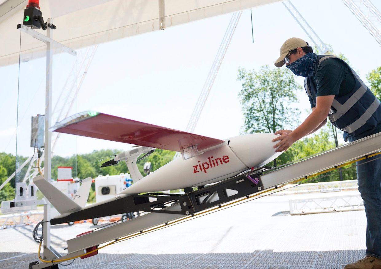 Zipline delivery drone preparing for take-off